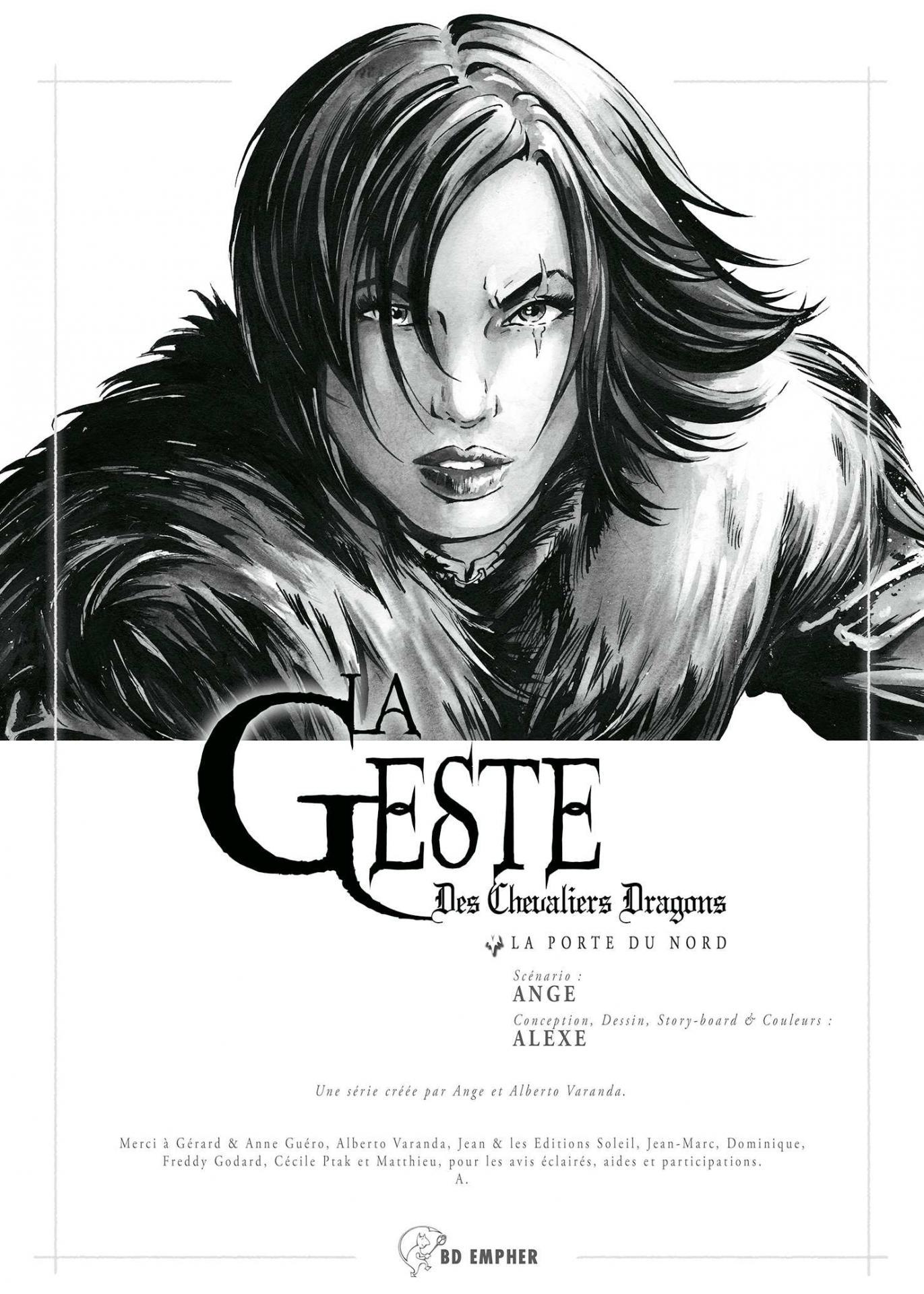 Alexe La Geste des Chevaliers Dragons page titre du Tirage de Luxe