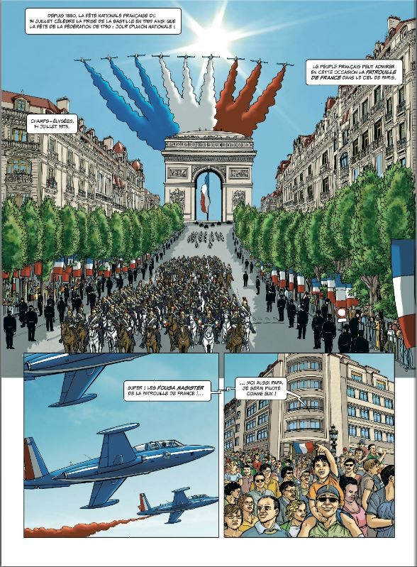 Spectacle de la patrouille de france sur l'Arc de Triomphe à Paris